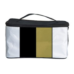 Black Brown Gold White Stripes Elegant Festive Stripe Pattern Cosmetic Storage Case by yoursparklingshop