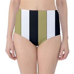 Black Brown Gold White Stripes Elegant Festive Stripe Pattern High Waist Bikini Bottoms