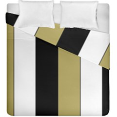 Black Brown Gold White Stripes Elegant Festive Stripe Pattern Duvet Cover Double Side (king Size)