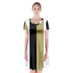 Black Brown Gold White Stripes Elegant Festive Stripe Pattern Short Sleeve V Neck Flare Dress