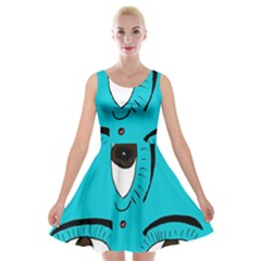 Eyes Three Blue Velvet Skater Dress