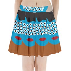 Face Eye Human Pleated Mini Skirt