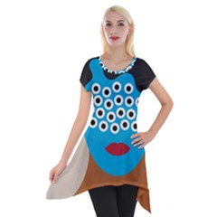 Face Eye Human Short Sleeve Side Drop Tunic