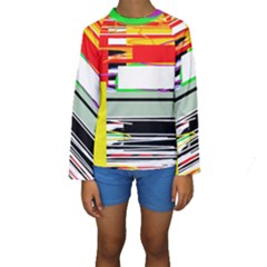 Lines And Squares  Kids  Long Sleeve Swimwear