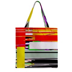 Lines And Squares  Zipper Grocery Tote Bag