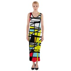 Casual Abstraction Fitted Maxi Dress