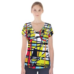 Casual Abstraction Short Sleeve Front Detail Top by Valentinaart