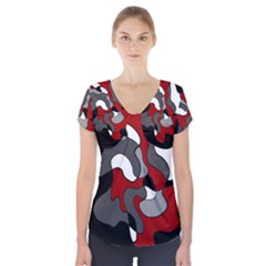 Creative Spot   Red Short Sleeve Front Detail Top