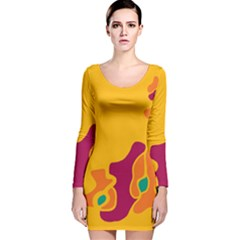 Colorful Creativity Long Sleeve Velvet Bodycon Dress by Valentinaart
