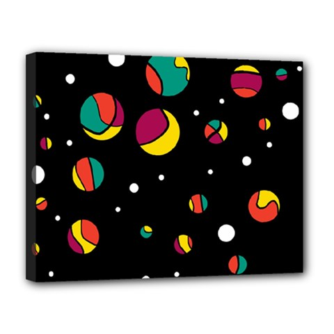 Colorful Dots Canvas 14  X 11  by Valentinaart