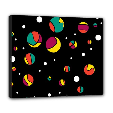 Colorful Dots Deluxe Canvas 24  X 20   by Valentinaart