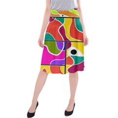 Colorful Windows  Midi Beach Skirt by Valentinaart