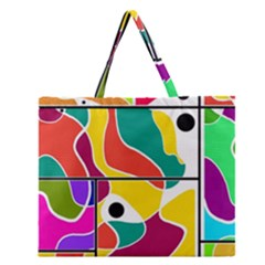Colorful Windows  Zipper Large Tote Bag by Valentinaart
