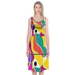 Colorful Windows  Midi Sleeveless Dress by Valentinaart