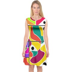 Colorful Windows  Capsleeve Midi Dress by Valentinaart