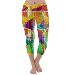 Abstract Sunrise Capri Winter Leggings