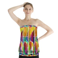 Abstract Sunrise Strapless Top by Valentinaart