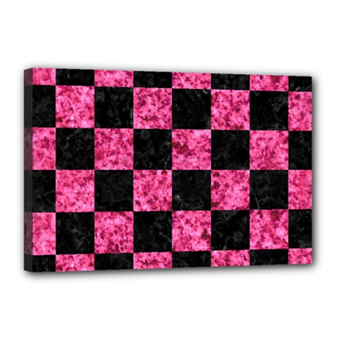 Square1 Black Marble & Pink Marble Canvas 18  X 12  (stretched) by trendistuff