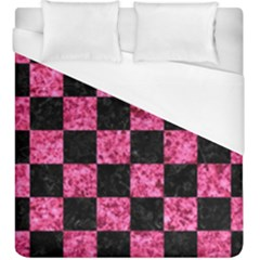 Square1 Black Marble & Pink Marble Duvet Cover (king Size) by trendistuff