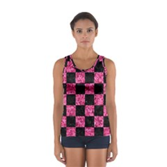 Square1 Black Marble & Pink Marble Sport Tank Top  by trendistuff