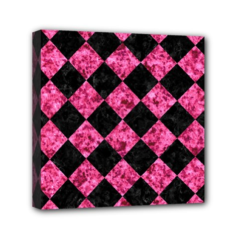 Square2 Black Marble & Pink Marble Mini Canvas 6  X 6  (stretched) by trendistuff