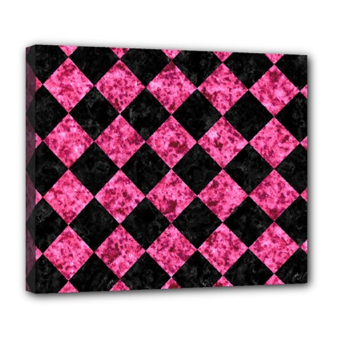 Square2 Black Marble & Pink Marble Deluxe Canvas 24  X 20  (stretched) by trendistuff