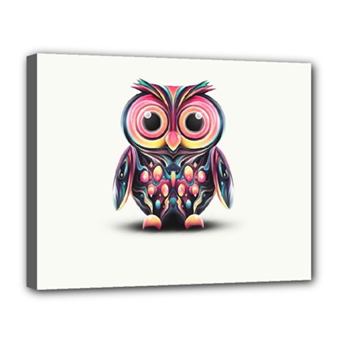 Owl Colorful Canvas 14  X 11