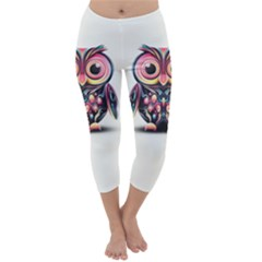 Owl Colorful Capri Winter Leggings