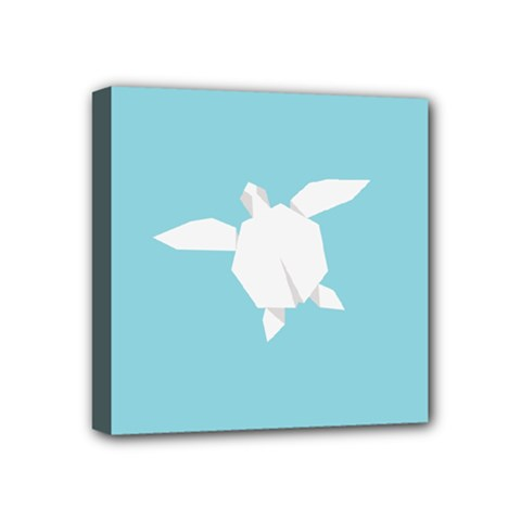 Pet Turtle Paper Origami Mini Canvas 4  X 4  by AnjaniArt