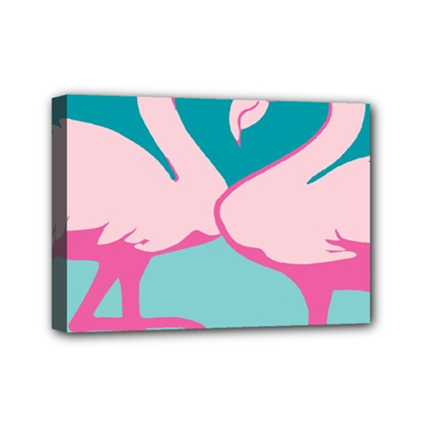 Pink Flamengo Mini Canvas 7  X 5  by AnjaniArt