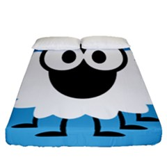 Sheep Animals Bleu Fitted Sheet (queen Size) by AnjaniArt