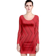 Rank Red White Long Sleeve Bodycon Dress