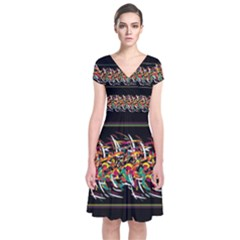 Colorful Barbwire  Short Sleeve Front Wrap Dress