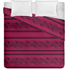 Red Barbwire Pattern Duvet Cover Double Side (king Size) by Valentinaart