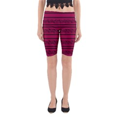Red Barbwire Pattern Yoga Cropped Leggings