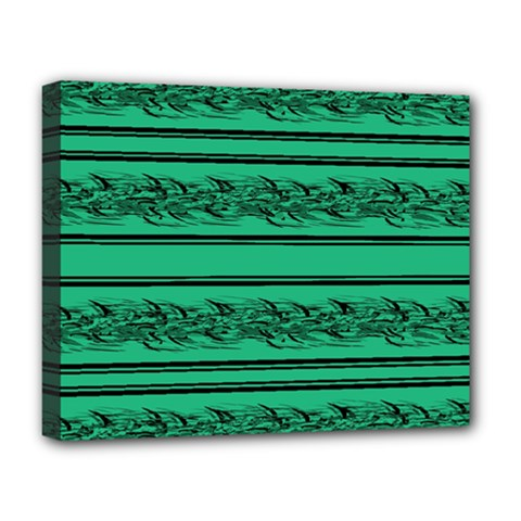 Green Barbwire Deluxe Canvas 20  X 16   by Valentinaart