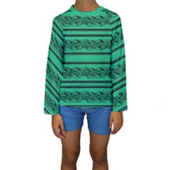 Green Barbwire Kids  Long Sleeve Swimwear