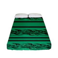 Green Barbwire Fitted Sheet (full/ Double Size) by Valentinaart