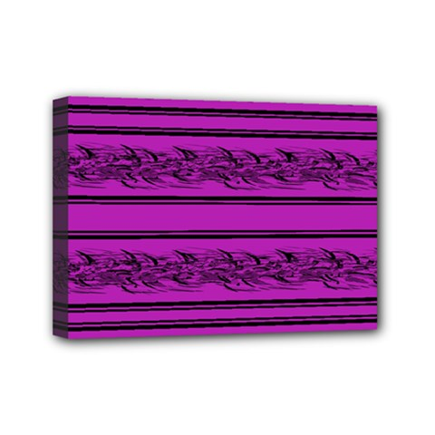 Magenta Barbwire Mini Canvas 7  X 5  by Valentinaart