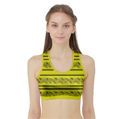Yellow Barbwire Sports Bra With Border by Valentinaart