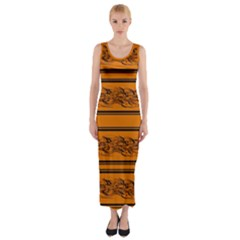 Orange Barbwire Pattern Fitted Maxi Dress by Valentinaart