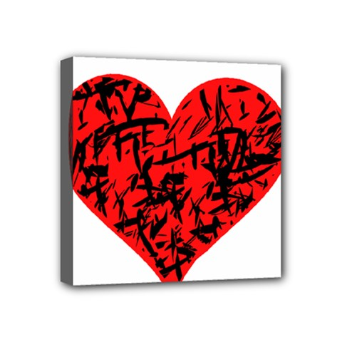 Valentine Hart Mini Canvas 4  X 4  by Valentinaart