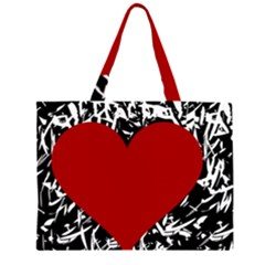 Red Valentine Zipper Large Tote Bag by Valentinaart