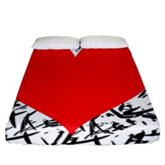 Red Valentine 2 Fitted Sheet (queen Size) by Valentinaart