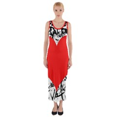Red Valentine 2 Fitted Maxi Dress by Valentinaart