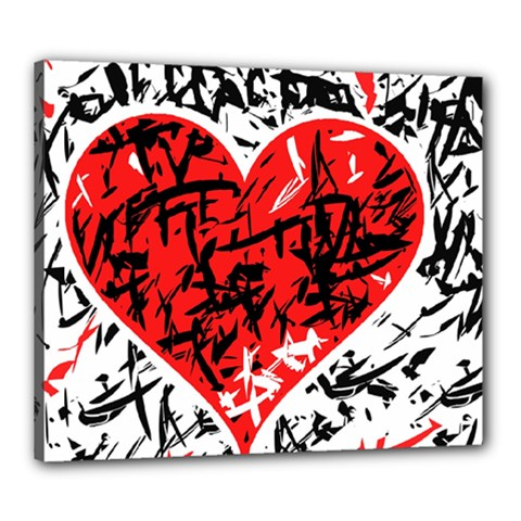 Red Hart   Graffiti Style Canvas 24  X 20  by Valentinaart