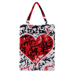 Red Hart   Graffiti Style Classic Tote Bag by Valentinaart
