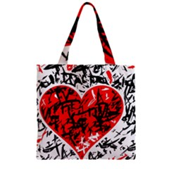 Red Hart   Graffiti Style Zipper Grocery Tote Bag by Valentinaart