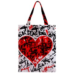 Red Hart   Graffiti Style Zipper Classic Tote Bag by Valentinaart
