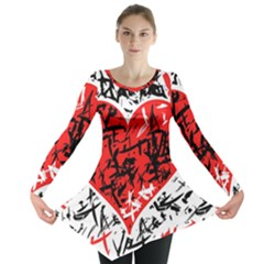 Red Hart   Graffiti Style Long Sleeve Tunic  by Valentinaart